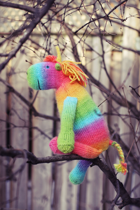 Rainbow Unicorn Knitting Pattern : Wordless wednesday a colorful knit unicorn the